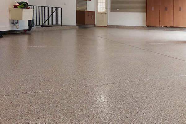 Tan fleck epoxy flooring